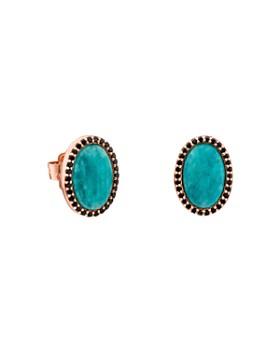 TOUS - Amazonite & Black Spinel Oval Stud Earrings