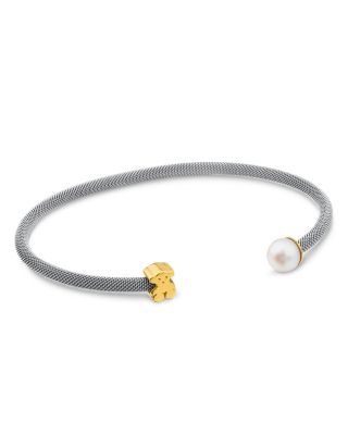 TOUS CULTURED FRESHWATER PEARL & BEAR OPEN MESH CUFF