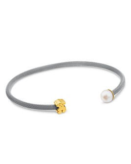 TOUS - Cultured Freshwater Pearl & Bear Open Mesh Cuff