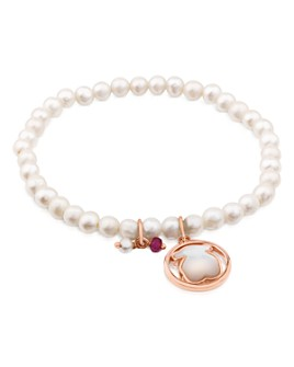 TOUS - Camille Cultured Freshwater Pearl Beaded Stretch Bracelet with Mother-of-Pearl Bear & Ruby Charms