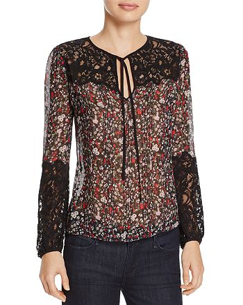Rebecca Taylor - Lyra Floral Print Lace & Silk Top