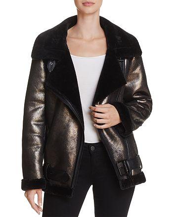Sunset & Spring - Metallic Faux Shearling Moto Jacket - 100% Exclusive