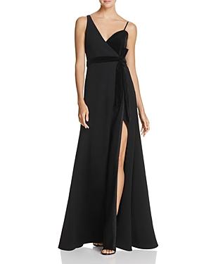 Jill Jill Stuart Velvet & Crepe Wrap Gown