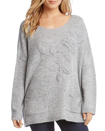 Karen Kane - Floral Embroidered Oversize Sweater
