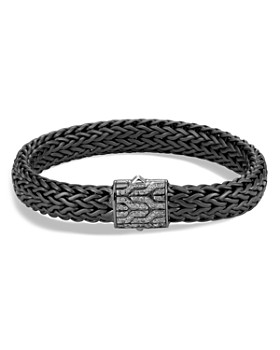 John Hardy - Men's Sterling Silver Classic Chain Large Flat Chain Bracelet with Gray Diamonds