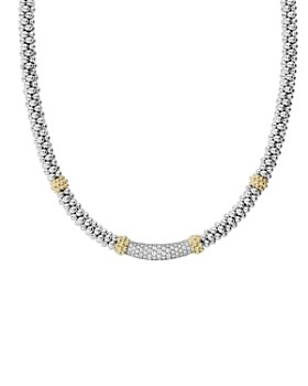 """LAGOS - 18K Gold & Sterling Silver Diamond Lux Single Station Necklace, 16"""""""