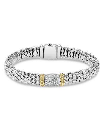 LAGOS - 18K Gold & Sterling Silver Diamond Lux Pavé Station Bracelet, 10mm