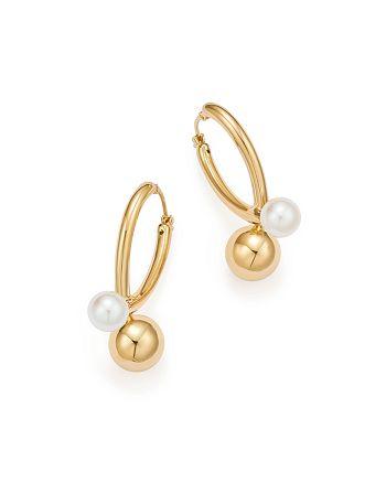 Bloomingdale's - Cultured Freshwater Pearl & Orb Drop Earrings in 14K Yellow Gold - 100% Exclusive