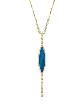 """Meira T - 14K Yellow Gold Opal & Diamond Marquise Y-Necklace, 18"""""""