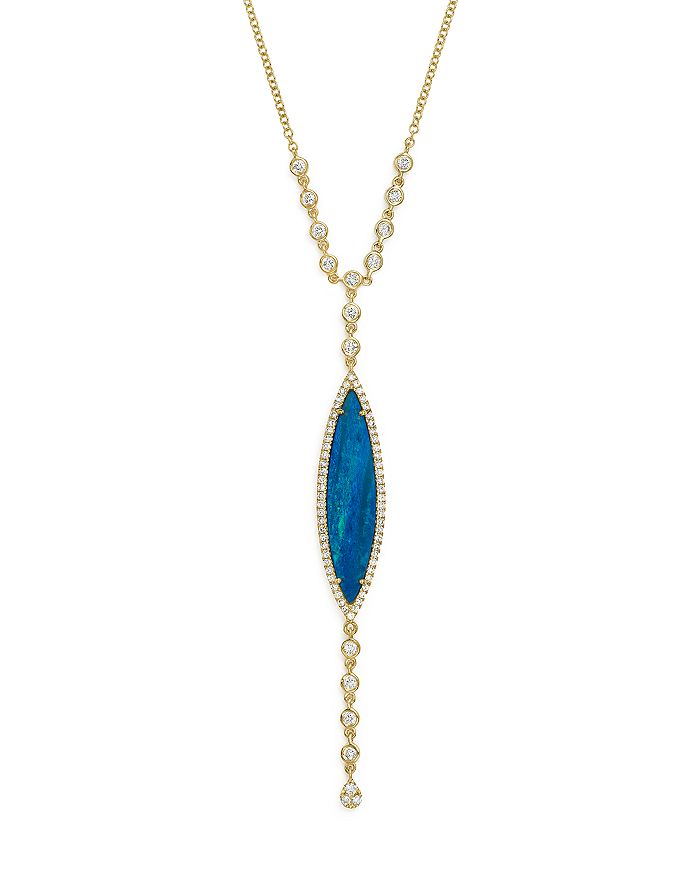 Meira T - 14K Yellow Gold Opal & Diamond Marquise Y-Necklace, 18""