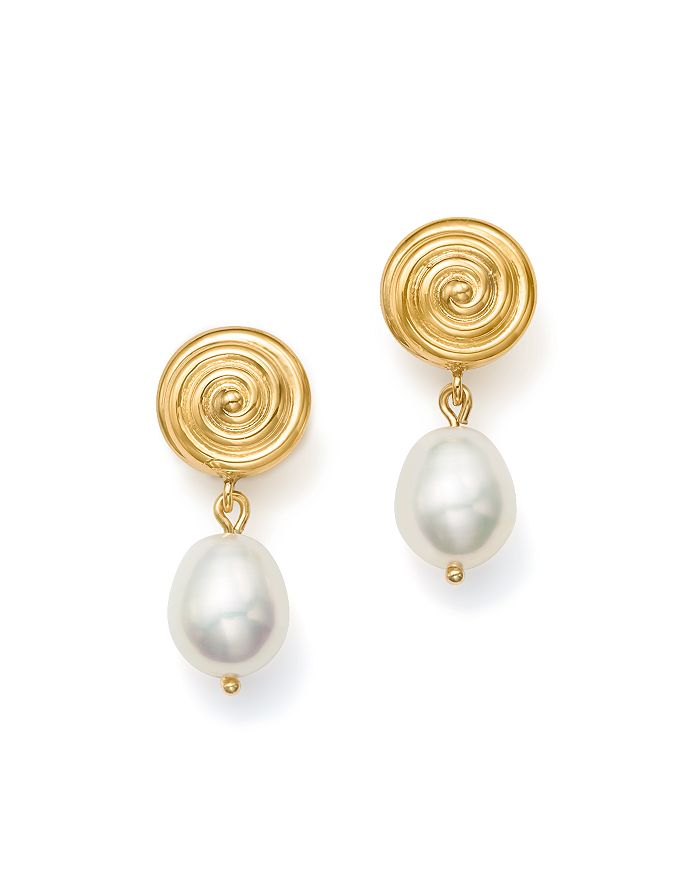 Bloomingdale's - Cultured Freshwater Pearl and Spiral Drop Earrings in 14K Yellow Gold - 100% Exclusive