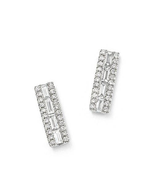 Bloomingdale's - Diamond Round & Baguette Stud Earrings in 14K White Gold, .40 ct. t.w - 100% Exclusive