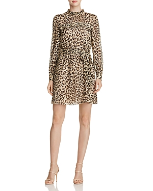 kate spade new york Metallic Clipped Dot Leopard Print Dress