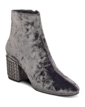 Kendall and Kylie Blythe Velvet Embellished Block Heel Booties - 100% Exclusive