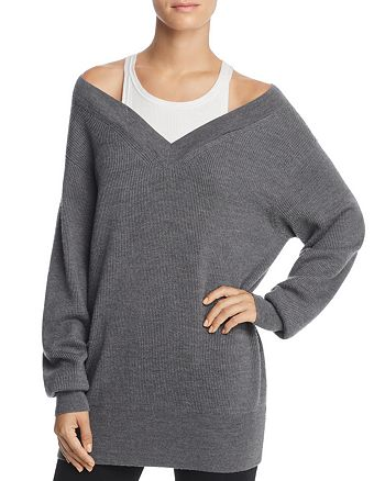 T by Alexander Wang - Layered Off-the-Shoulder Sweater