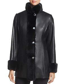 Maximilian Furs - Rex Rabbit Fur-Collar Leather Jacket - 100% Exclusive