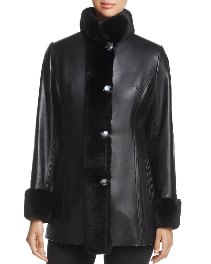 Maximilian Furs - Rex Rabbit Fur-Collar Leather Jacket - 100% Exclusive