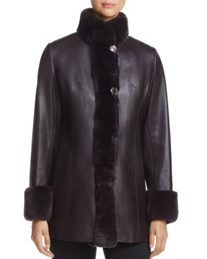 Maximilian Furs Rex Rabbit Fur-Collar Leather Jacket - 100% Exclusive