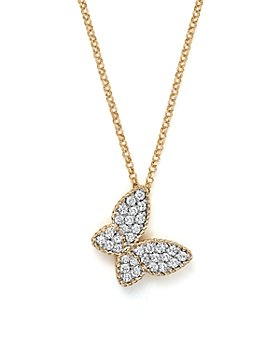 Roberto Coin - 18K Yellow Gold Tiny Treasures Princess Diamond Butterfly Necklace, 18""