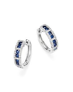 KC Designs - 14K White Gold Diamond & Sapphire Huggie Hoop Earrings