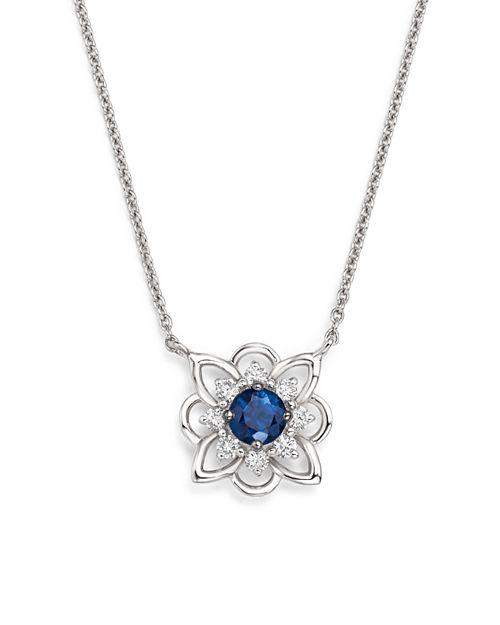 """KC Designs - 14K White Gold Diamond & Sapphire Floral Pendant Necklace, 16"""""""