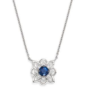 Kc Designs 14K White Gold Diamond & Sapphire Floral Pendant Necklace, 16