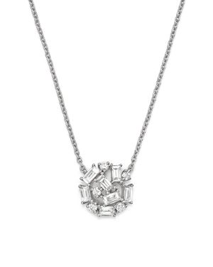 Kc Designs 14K White Gold Mosaic Diamond Cluster Necklace, 16