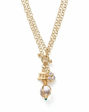 Temple St. Clair 18K Yellow Gold Arno Moonstone, Diamond and Emerald Three Charm Pendant Necklace, 4