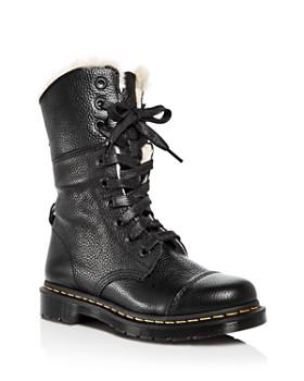 Dr. Martens - Women s Aimilita Leather Combat Boots ... f4d9180c0c63