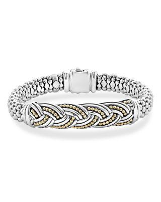 LAGOS 18K Gold & Sterling Silver Torsade Large Station Bracelet in Silver/ Gold