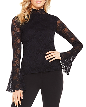 Vince Camuto Lace Mock Neck Bell Sleeve Top