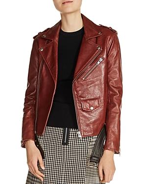 Maje Bixente Leather Moto Jacket