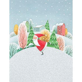 Design Design - Santa Skating Cards, Box of 20