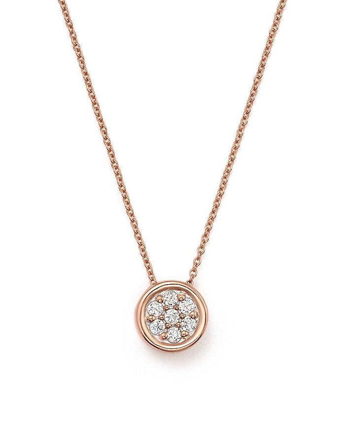 Bloomingdale's - Diamond Bezel Set Cluster Small Pendant Necklace in 14K Rose Gold, .10 ct. t.w. - 100% Exclusive
