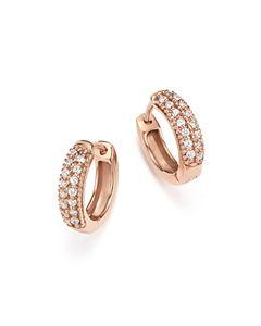 4135dae074b300 Bloomingdale's Black Diamond Huggie Hoop Earrings in 14K Rose Gold ...