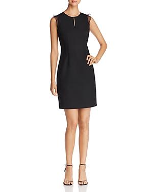 Elie Tahari Deloria Sheer Ruffle Sleeve Dress