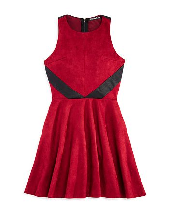 Miss Behave - Girls' Faux-Suede Dress with Faux-Leather Details - Big Kid