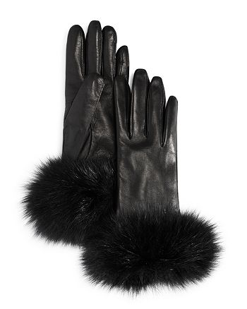 Bloomingdale's - Fox Fur Cuff Leather Gloves - 100% Exclusive