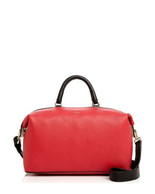 Ruby And Petalo Leather Blogger M Satchel Bag, Ruby Red And Petalo White/Gold