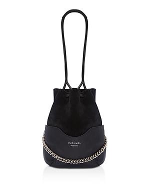 meli melo Hetty Velvet & Leather Bucket Bag