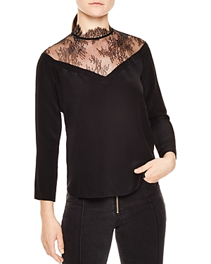 Sandro Neel Lace-Detail Silk Top