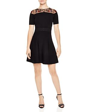 Sandro Chaza Mesh-Yoke Embroidered A-Line Dress