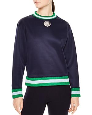 Sandro Jimmy Metallic-Striped Trim Sweatshirt
