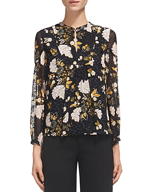 Whistles Belize Botanical-Print Silk Blouse