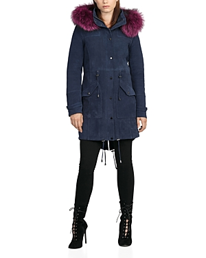Bagatelle. city Fur Trim Hooded Suede Parka