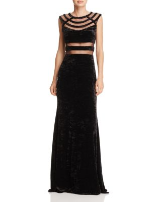 MESH-INSET CRUSHED VELVET GOWN - 100% EXCLUSIVE