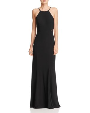 Avery G Lace Cutout-Back Gown