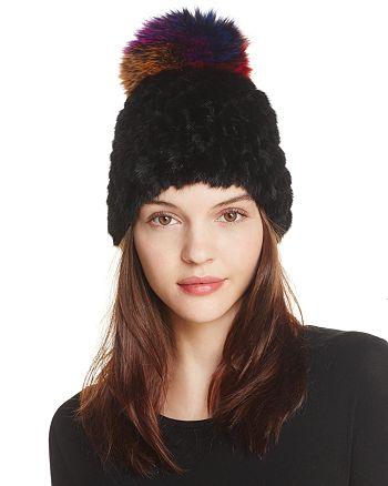 096da56f2fcd2 Jocelyn - Knitted Silver Fox   Mink Fur Pom-Pom Hat