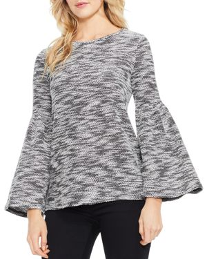 Vince Camuto Bell Sleeve Space-Dyed Slub Knit Top