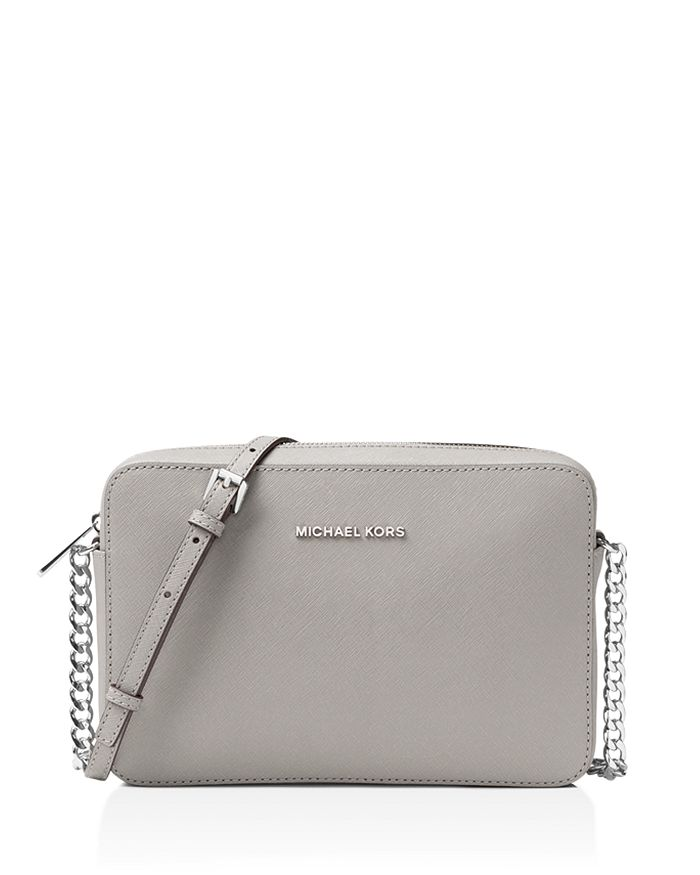 Michael Michael Kors Jet Set Large Saffiano Leather Crossbody In Pearl Gray/Silver